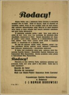 [Obwieszczenie] : Rodacy! [Inc.:] Wojsko Polskie wraz z braterską Armią Czerwoną w zwycięskim pochodzie idzie na Berlin. […], [Bydgoszcz] - 8 luty 1945 r.