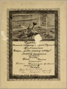 [Dyplom] : [Inc.:] Dyplom - Pomorski Okręgowy Związek Pływacki - Mistrzostwo Pomorza piłki wodnej zdobył Sokół III Bydgoszcz [...] Bydgoszcz, 6/8.1933 r.