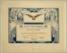 [Dyplom] : [Inc.:] 1922-1932 Tow. Gimn. Sokół V w Bydgoszczy. W uznaniu zasług oddanych organizacji, nadajemy z okazji 10-lecia istnienia niniejszy Dyplom druhowi Władysławowi Radzimskiemu, Bydgoszcz, dnia 5 maja 1932 r.