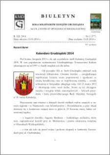Biuletyn Koła Miłośników Dziejów Grudziądza 2014, Rok XII, nr 2(377): Kalendarz Grudziądzki 2014