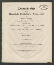 Jahresbericht über das Königliche Katholische Gymnasium zu Braunsberg in dem Schuljahre 1849-50