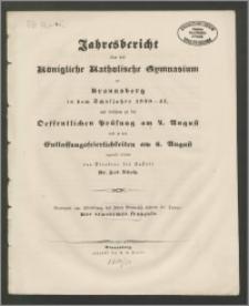 Jahresbericht über das Königliche Katholische Gymnasium zu Braunsberg in dem Schuljahre 1850-51
