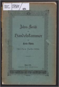 Jahres-Bericht der Handelskammer für Kreis Thorn für das Jahr 1894