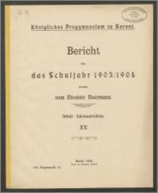 Königliches Progymnasium zu Berent. Bericht über das Schuljahr 1903/1904