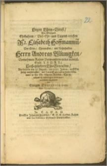 Letzter Ehren-Dienst, Der [...] Fr. Elisabeth Hoffmannin[n], Des [...] Herrn Andreas Blümigken, Vornehmen Rahts-Verwandten in der Königl. Stadt Thorn [...] Ehe-Genosinn, Als dieselbe den 17. Augusti, des 1675. Jahres, in Gott seelig entschlaffen, und darauff am 21sten dieses Monats in der St. Marien Kirchen [...] beerdiget worden [...] abgestattet von Einigen Professoribus des Gymnasii