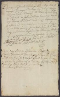 Stanisław Sulmierski i S. Potocki proszą Jana Jerzego na Przebendowie, podskarbiego wielkiego koronnego o wypłacenie sumy 3000 zł
