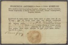 Franciszek Antoni Kobielski episcopus emausensis [biskup tytularny Antaeopolis ?] oficjał łucki, dziekan stanisławski, nadał podczas uroczystej mszy tonsurę i pierwsze niższe święcenia Leonardowi Capuci