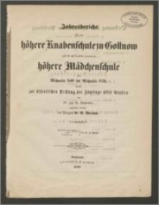 Jahresbericht über die höhere Knabenschule zu Gollnow und die mit derfelben verbundene höhere Mädchenschule von Michaelis 1869 bis Michaelis 1870