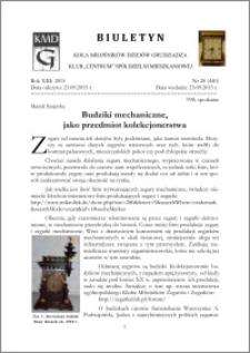 Biuletyn Koła Miłośników Dziejów Grudziądza 2015, Rok XIII, nr 28(440) : Budziki mechaniczne, jako przedmiot kolekcjonerstwa