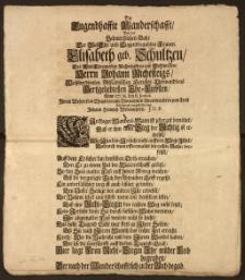 Die Tugendhaffte Wanderschafft, Bey der Schmertzlichen Bahr Der [...] Frauen Elisabeth geb. Schultzen, Des [...] Herrn Johann Richtsteigs, Wohlverdienten Altstädtischen Gerichts-Verwandtens Hertzgeliebtesten Ehe-Liebsten, Anno 1708. den 8. Junius [...] / zum Trost [...] vorgestellet von Johann Heinrich Wedemeyern, J. U. P.