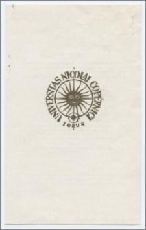 [Zaproszenie. Incipit] Rektor i Senat Uniwersytetu Mikołaja Kopernika w Toruniu zapraszają uprzejmie na uroczystość inauguracji roku akademickiego 1976/1977 połączoną z otwarciem zjazdu pierwszych absolwentów UMK ... 2 października 1976 r