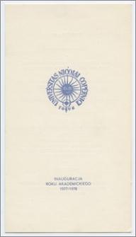 [Zaproszenie. Incipit] Rektor i Senat Uniwersytetu Mikołaja Kopernika w Toruniu zapraszają uprzejmie na uroczystość inauguracji roku akademickiego 1977/1978 ... 3 października 1977 r