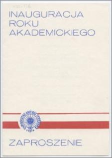 [Zaproszenie. Incipit] Rektor i Senat Uniwersytetu Mikołaja Kopernika w Toruniu uprzejmie zapraszają na inaugurację roku akademickiego 1982/1983 ... 4 października 1982 roku