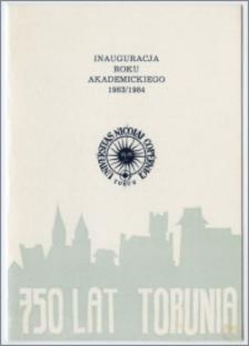 [Zaproszenie. Incipit] Rektor i Senat Uniwersytetu Mikołaja Kopernika w Toruniu uprzejmie zapraszają na inaugurację roku akademickiego 1983/1984 ... 3 października 1983 roku