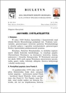 Biuletyn Koła Miłośników Dziejów Grudziądza 2014, Rok XII, nr 21(396): Jan PaweŁ II w filatelistyce
