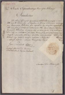 Świadectwo Rządu Imperatorskiego Uniwersytetu Wileńskiego stwierdzjące, że ksiądz Anioł Dowgird XX Pijarów w czasie od 9 XI 1812 do 31 VIII 1813 sprawował funkcje kapelana Głównego Seminarium Duchownego przy Uniwersytecie Wileńskim