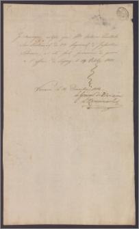 Zaświadczenie stwierdzające, że porucznik 2 pułku piechoty Antoni Zientek został wzięty do niewoli pod LIpskiem 19 X 1813 r.