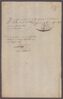 Fredro [Seweryn] oświadcza, że w dn 31 pażdziernika 1813 r. został wzięty do niewoli pod Kulmem