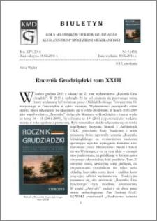 Biuletyn Koła Miłośników Dziejów Grudziądza 2016, Rok XIV, nr 5(458) : Rocznik Grudziądzki tom XXIII