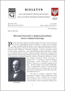 Biuletyn Koła Miłośników Dziejów Grudziądza 2016, Rok XIV, nr 9(462) : Kierunek francuski w dyplomacji polskiej okresu międzywojennego