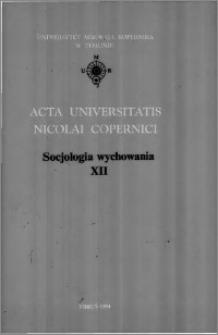 Acta Universitatis Nicolai Copernici. Nauki Humanistyczno-Społeczne. Socjologia Wychowania, z. 12 (285), 1994