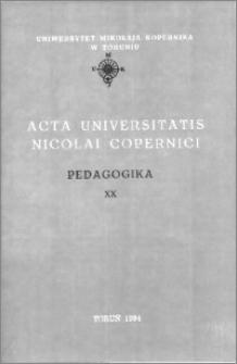 Acta Universitatis Nicolai Copernici. Nauki Humanistyczno-Społeczne. Pedagogika, z. 20 (282), 1994