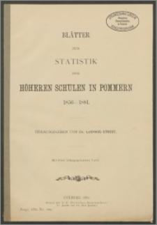 Blätter zur Statistik der Höheren Schulen in Pommern 1856-1881