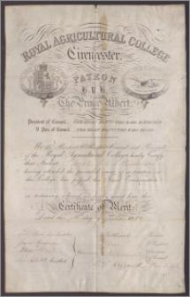 """Królewskie Rolnicze Kolegium zaświadcza, że Joseph Peter Steinkeller odbył obowiązujące w tym kolegium kursy, oraz złożył egzamin końcowy otrzymując """"zaświadczenie zasług"""""""