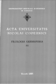 Acta Universitatis Nicolai Copernici. Nauki Humanistyczno-Społeczne. Filologia Germańska z. 20 (292), 1995