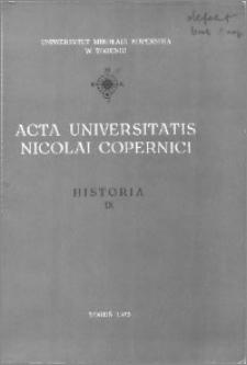 Acta Universitatis Nicolai Copernici. Nauki Humanistyczno-Społeczne. Historia, z. 9 (58), 1973