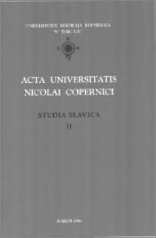 Acta Universitatis Nicolai Copernici. Nauki Humanistyczno-Społeczne. Studia Slavica, z. 2 (318), 1998