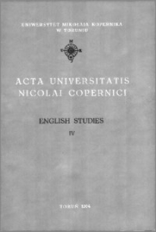 Acta Universitatis Nicolai Copernici. Humanities and Social Sciences. English Studies, z. 4 (274), 1994