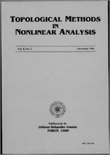 Topological Methods in Nonlinear Analysis, Vol. 8 no 2, (1996)