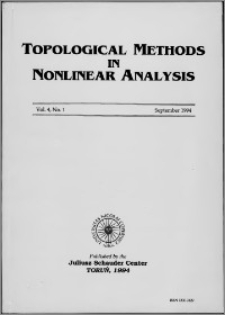 Topological Methods in Nonlinear Analysis, Vol. 4 no 1, (1994)