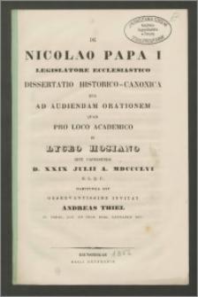 De Nicolao Papa I legislatore ecclesiastico