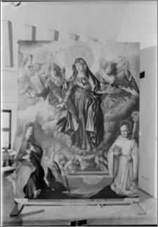 Koronowo [Kościół Cystersów – ołtarz główny – Wniebowzięcie Najświętszej Maryi Panny, obraz autorstwa Bartłomieja Strobla]