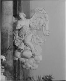 Podhrodní Lhota (Morawy, Czechy). Kościół parafialny. Wnętrze-framgent dekoracji ołtarzy i ambony autorstwa Baltazara Fontany (?)