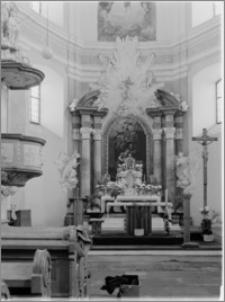 Podhrodní Lhota (Morawy, Czechy). Kościół parafialny. Wnętrze-ołtarz główny autorstwa Baltazara Fontany (?)