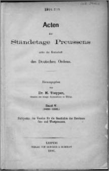 Acten der Ständetage Preussens unter der Herrschaft des Deutschen Ordens. Bd. 5, (1458-1525)