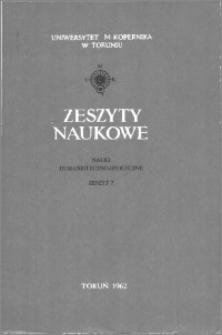 Zeszyty Naukowe Uniwersytetu Mikołaja Kopernika w Toruniu. Nauki Humanistyczno-Społeczne. Nauka o Książce, z. 1 (7), 1962