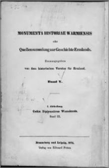Codex diplomaticus Warmiensis oder Regesten und Urkunden zur Geschichte Ermlands. Bd. 3, Urkunden der Jahre 1376-1424 nebst Nachträgen
