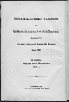Scriptores rerum Warmiensium oder Quellenschriften zur Geschichte Ermlands. Bd. 2