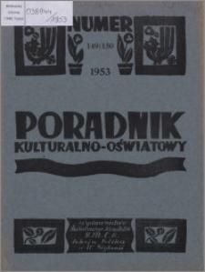 Poradnik Kulturalno-Oświatowy : wydawnictwo Światowego Komitetu YMCA, Sekcja Polska w W. Brytanii 1953, R. 14 nr 149-150