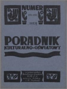 Poradnik Kulturalno-Oświatowy : wydawnictwo Światowego Komitetu YMCA, Sekcja Polska w W. Brytanii 1953, R. 14 nr 151-152