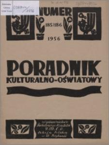 Poradnik Kulturalno-Oświatowy : wydawnictwo Światowego Komitetu YMCA, Sekcja Polska w W. Brytanii 1956, R. 16 nr 185-186