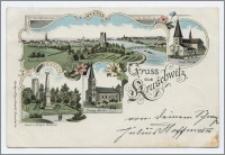 Gruss aus Kruschwitz : Total-Ansicht, Kath. Kirche, Kaiser u. Krieger Denkmal, Evang. Kirche