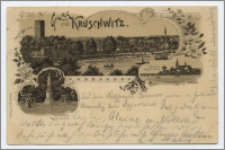 Gruss aus Kruschwitz : Mäusethurm = Mysia Wieża, Kath. Kirche = kościół katolicki, Kaiser-Denkmal Pomnik cesarza
