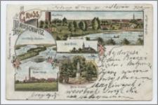 Gruss aus Kruschwitz : Mäusethurm, Insel Adelka i. Goplasee, Kath. Kirche, Zuker-Fabrik, Kaiser Denkmal
