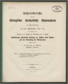 Jahresbericht über das Königliche Katholische Gymnasium zu Braunsberg in dem Schuljahre 1871-72