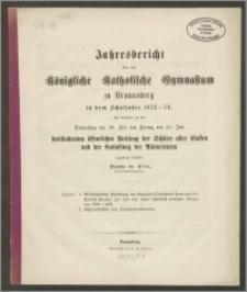 Jahresbericht über das Königliche Katholische Gymnasium zu Braunsberg in dem Schuljahre 1873-74